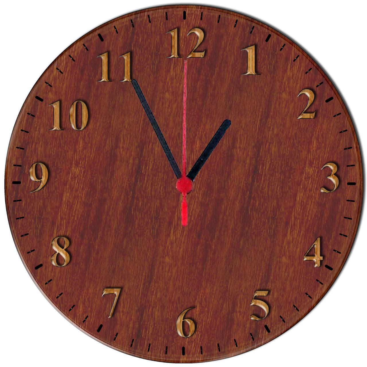 """Настенные часы из стекла """"Темное дерево"""""""