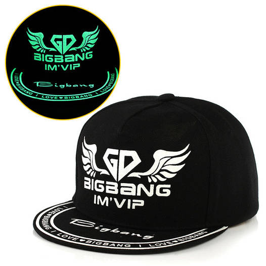 Cветящаяся  черная кепка Bigbang Im`Vip (реплика)