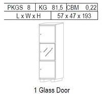 Витрина 1-дверная: 3 дв, 1 стекло + 2 дерево