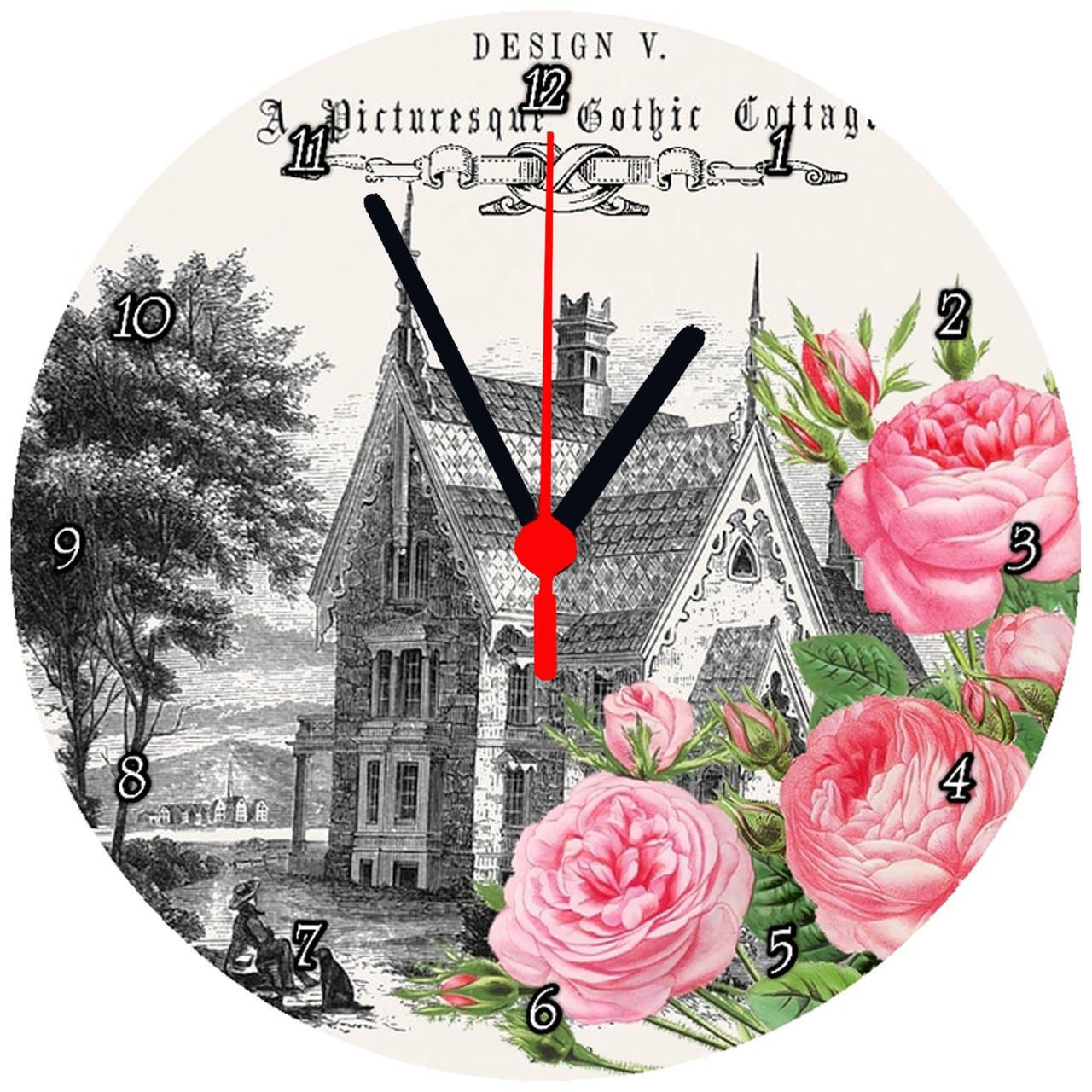 """Настінні годинники на склі """"Квіти на тлі замку"""""""