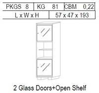 Витрина 1-дверная: 2 дв стекло + открытая полка