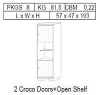 Витрина 1-дверная: 2 дв CROCO + открытая полка