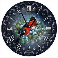 """Настенные часы на стекле """"Снегири"""""""