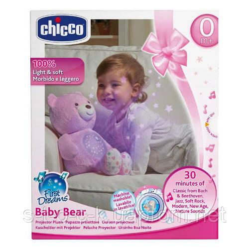 Медвежонок плюшевый с проектором Chicco  First Dream. Розовый