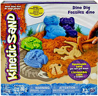 Песок для детского творчества - KINETIC SAND DINO (голубой, коричневый, формочки, окаменелости,340г) (71415Dn)