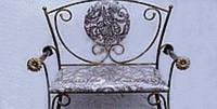 Кованый диван Софа 105х40 с мягкой спинкой спинкой и подлокотниками