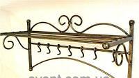 Кованая вешалка настенная с полкой для головных уборов