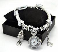 Часы браслет Pandora - женский кожаный браслет с часами