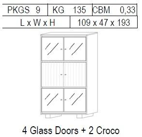 Витрина 2-дверная: 4 стекло + 2 CROCO