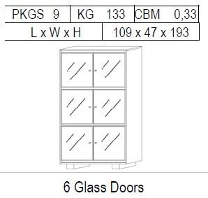 Витрина 2-дверная: 6 дв. стекло