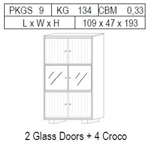 Витрина 2-дверная: 4 CROCO + 2 стекло