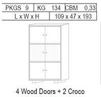 Витрина 2-дверная: 4 дерево + 2 CROCO