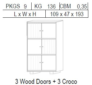 Витрина 2-дверная: 3 дерево + 3 CROCO