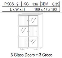 Витрина 2-дверная: 3 стекло + 3 CROCO