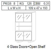 Витрина 2-дверная: 4 стекло с открытой полкой