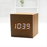 """Цифровые светодиодные деревянные часы """"Куб"""", фото 1"""
