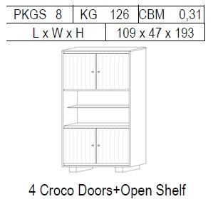 Витрина 2-дверная: 4 дв. CROCO с открытой полкой