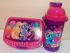 "Набор ""Little Pony - Пони"" в коробке. Бутылка с трубочкой и Ланч бокс (ланчбокс) , фото 2"