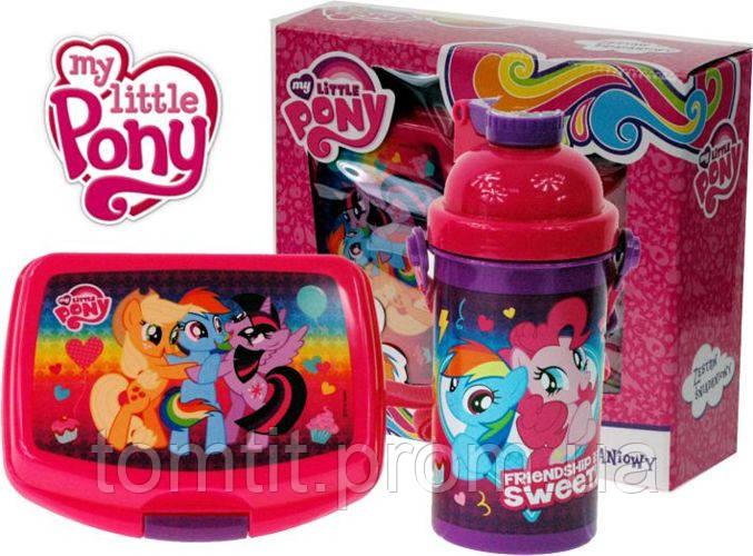 """Набор """"Little Pony - Пони"""" в коробке. Бутылка с трубочкой и Ланч бокс (ланчбокс)"""