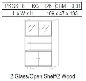 Витрина 2-дверная: 2 стекло + открытая полка + 2 дерево