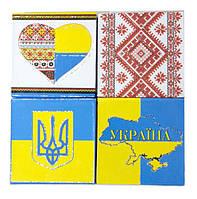 """Блок бумаги для заметок 80*80мм, 70 тонированных листов и твердой обложка с рисунком """"Украина"""""""