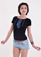 Женская футболка-вышиванка черная с геометрическим узором