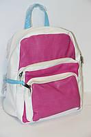 Жеский рюкзак из искусственной кожи Gorangd бело-розовый