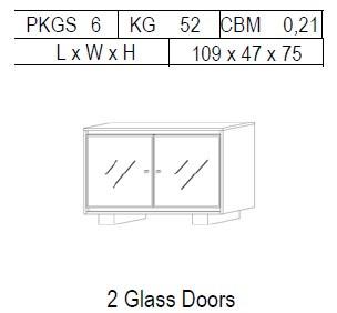 Буфет 2-дверный: 2 стекло