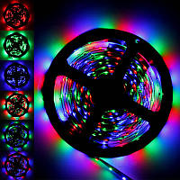 Светодиодная лента LED 3528 RGB комплект 5 метров, разноцветная лед лента, led rgb комплект