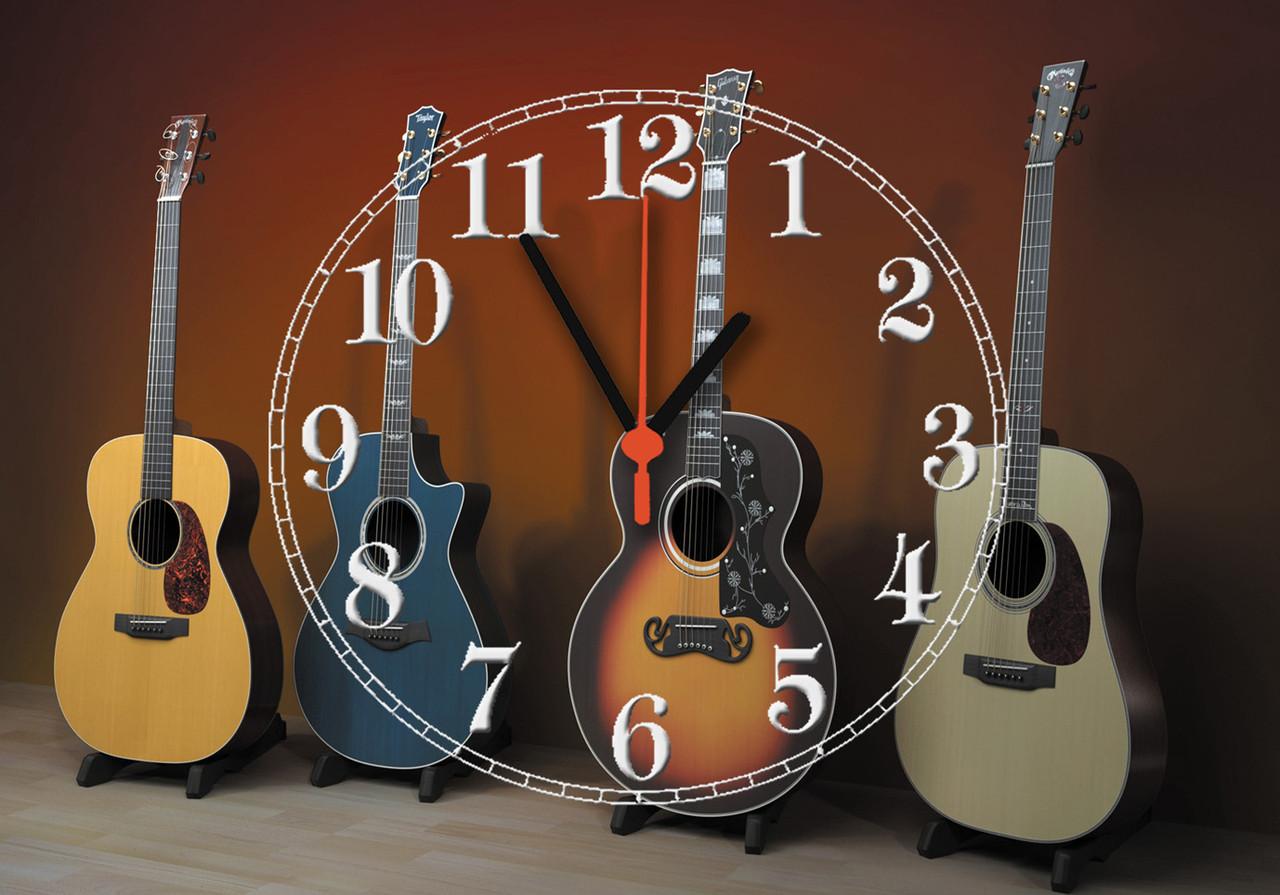 """Часы настенные стеклянные """"Гитары класика"""""""
