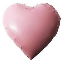 "Шар ""Розовое сердце"" надутый гелием 40см"