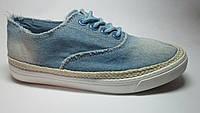 Слипоны женские джинсовые голубые на шнурках м 216, р 36-41