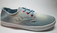Слипоны женские джинсовые голубые на шнурках м 115, р 36-41
