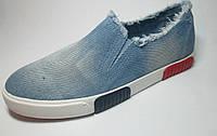 Слипоны женские джинсовые голубые м 65, р 36-41