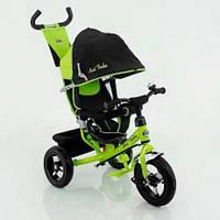 Детский трехколесный велосипед Best Trike 5555, направляющая ручка, колеса надувные, козырёк, зеленый