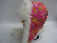 Шапка ушанка малиновая - сердечки, фото 1