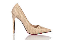 Туфли женские на каблуке Loren Leather Pumps (лорен) бежевые