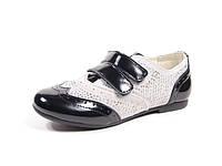 Туфли детские Шалунишка для девочек,  лак натуральный+замша, размеры 31