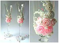 """Свадебные бокалы """"Розовые розы"""""""