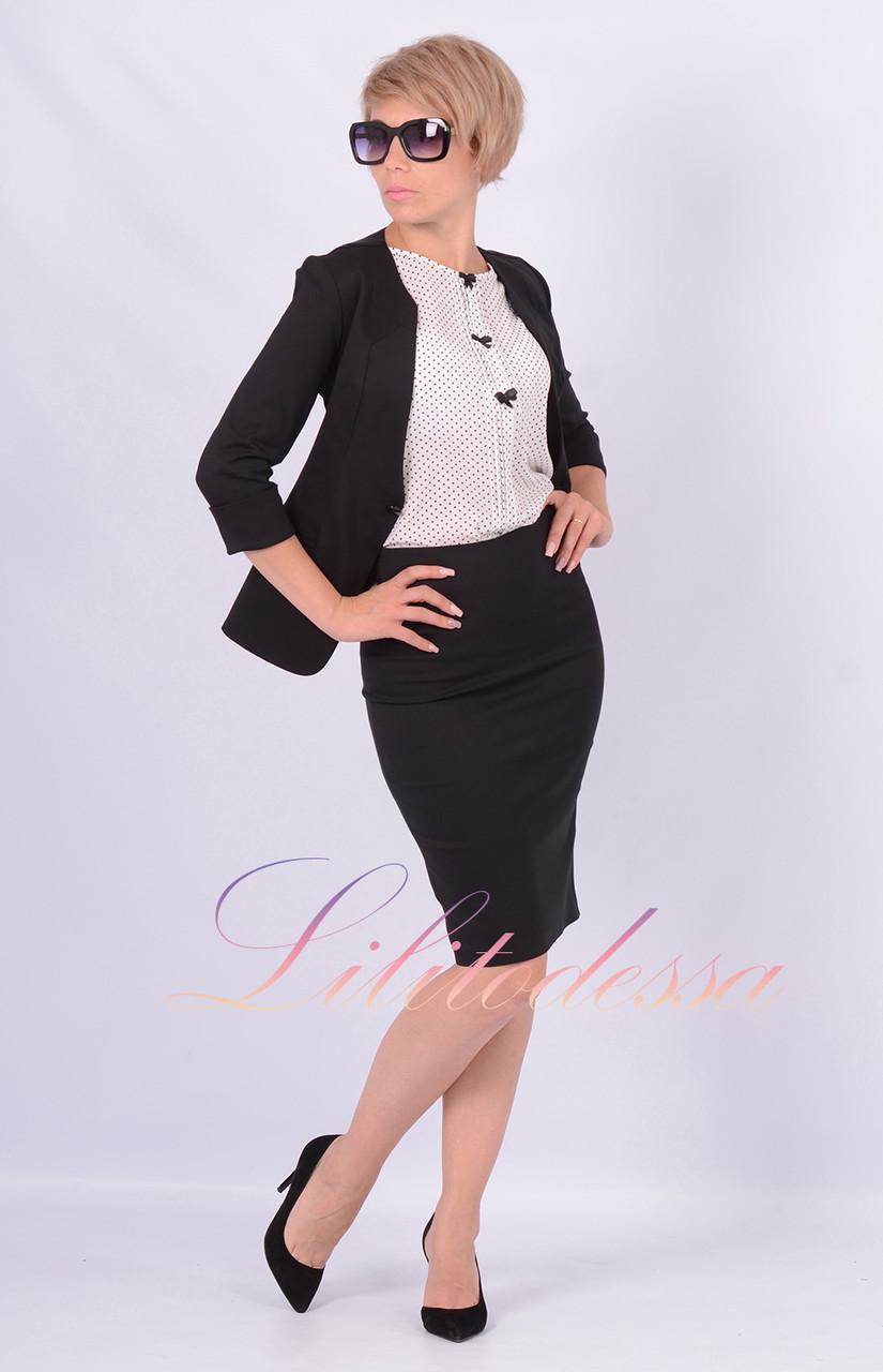 Женский с юбкой черный костюм доставка