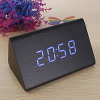 Цифровые светодиодные деревянные часы треугольные, фото 1