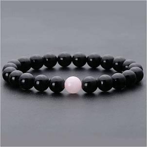 Браслет. Натуральные камни. Агат + розовый кварц, фото 2