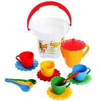 Набор игрушечной посуды 15 ел., зеленый, красный, синий, желтый (39121-1)