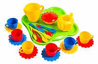 Набор игрушечной посуды 24 ел., салатовый поднос (39156-1)