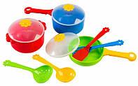 Ромашка, набор столовой посуды 10 предметов, с красной кастрюлей. Тигрес (39142-1)