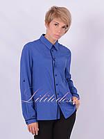 Рубашка классическая с окантовкой синяя