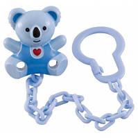 Держатель для пустышки Медвежонок голубой с сердцем, Canpol babies, сине-голубой медведь, голубая цепочка (10/874-2)