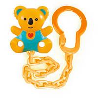 Держатель для пустышки Медвежонок с сердцем, Canpol babies, желто-зеленый медведь, желтая цепочка (10/874-5)