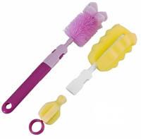 Набор ершиков для мытья бутылочек и сосок Чистюля, Canpol babies, розовый (7/403-1)