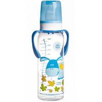 """Бутылка 250 мл с рисунком и ручкой (BPA FREE), коллекция """"Цветная ферма"""", синяя, осел (11/845-2)"""